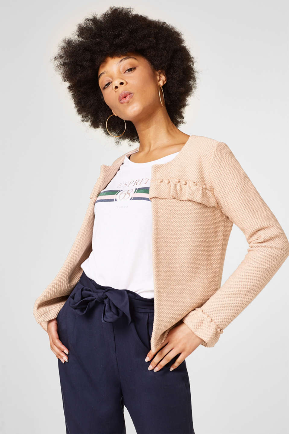 edc - Open knit blazer with frills