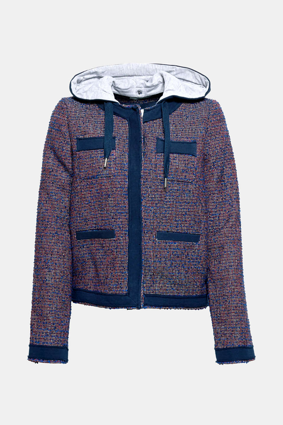 Fine jacquard meets soft sweatshirt fabric: a hood gives this short jacket with a jacquard pattern a casual touch.