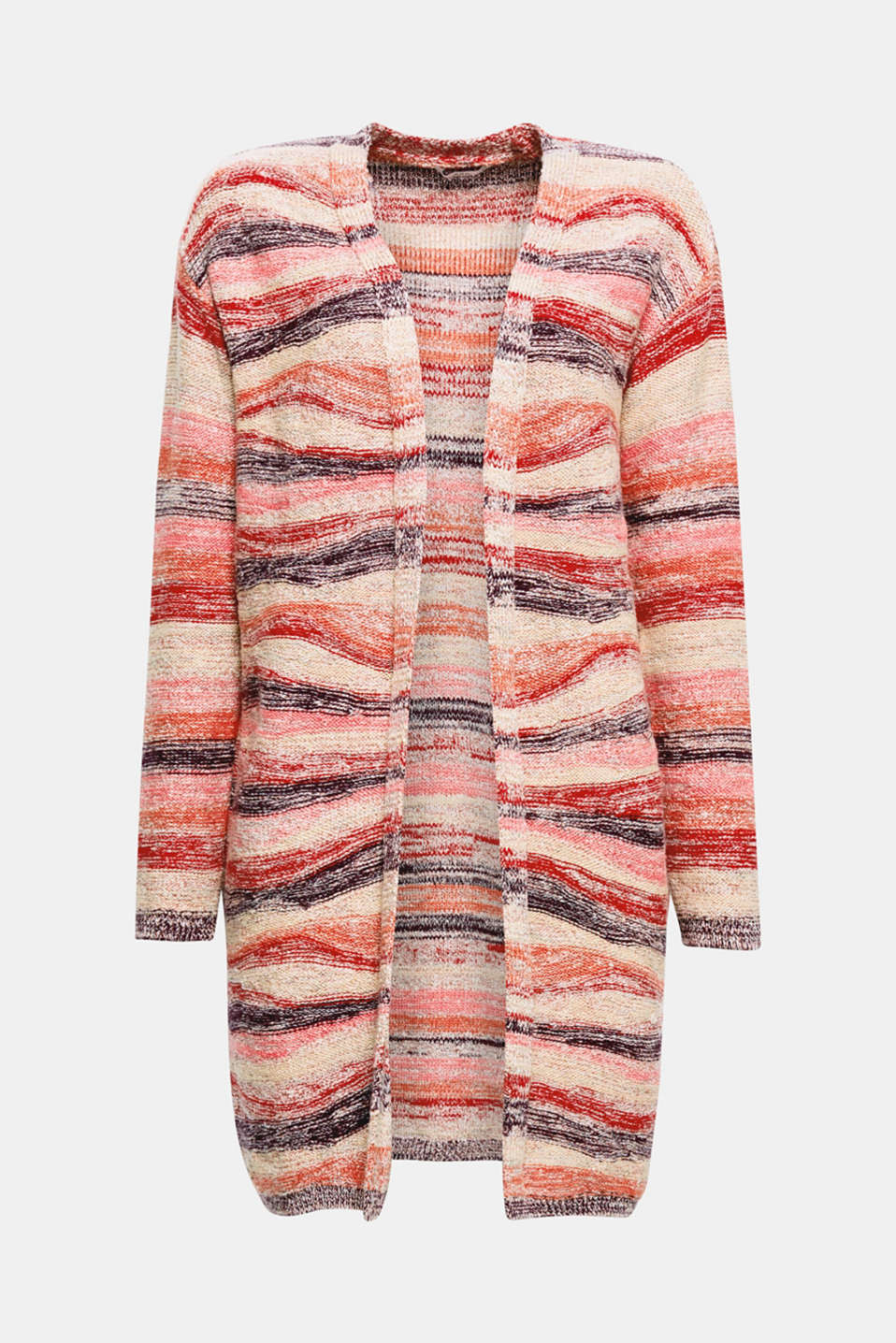 This casual, open-fronted cardigan features a multi-coloured stripe pattern for a wonderfully eye-catching effect.