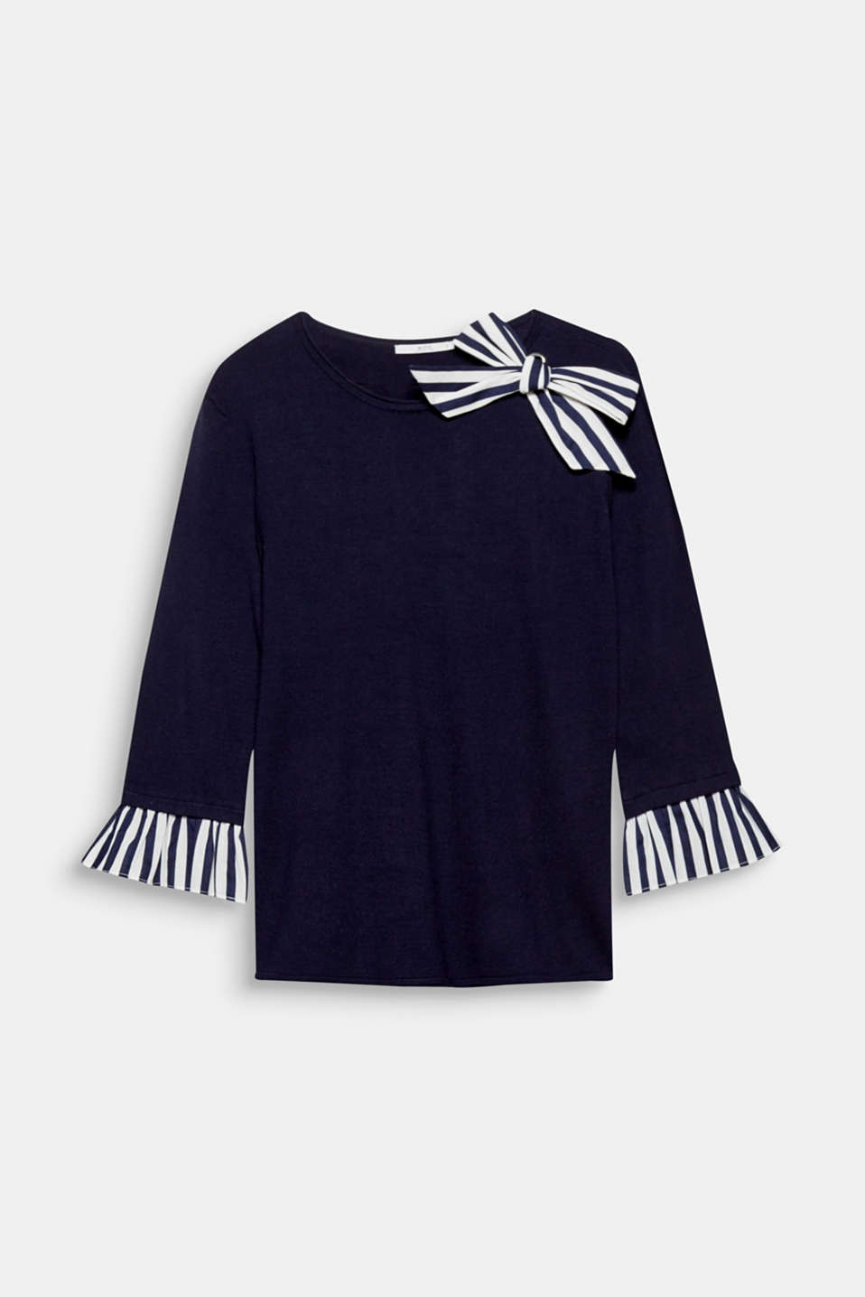 This soft fine knit jumper with a bow and flounce in a nautical striped fabric is so feminine and has a love of detail.