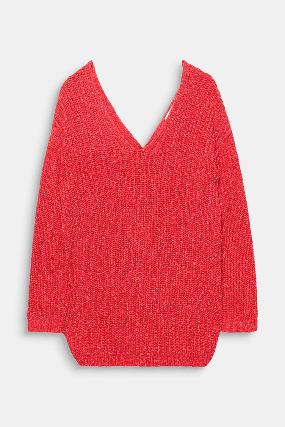 The deep V necklines and back knot detail give this jumper a stylish new silhouette.
