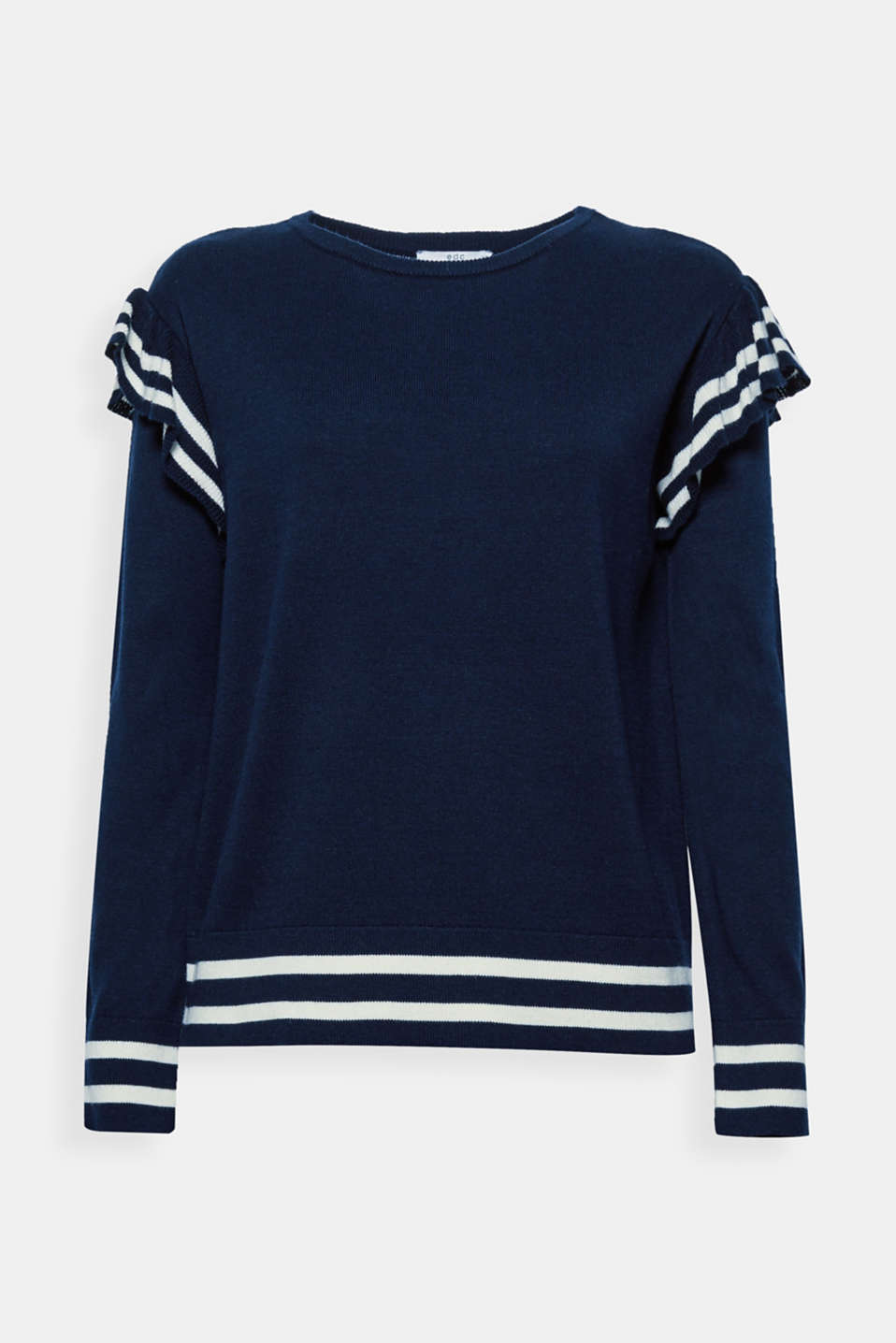 Playful head-turner! This casual fine knit jumper features frills and a nautical look.