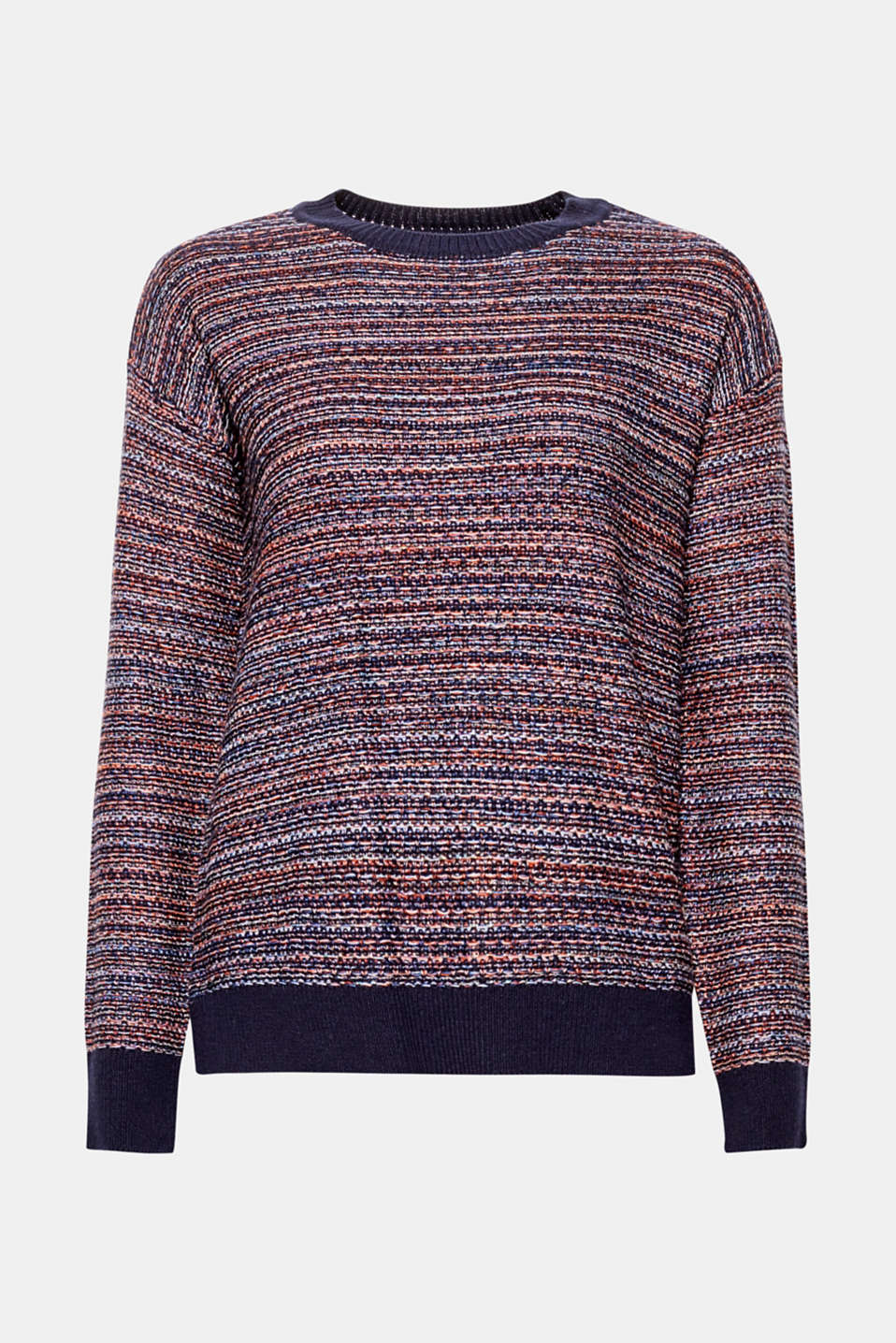 Colourful and glittering! This melange fine knit jumper in blended cotton features shimmering lurex.