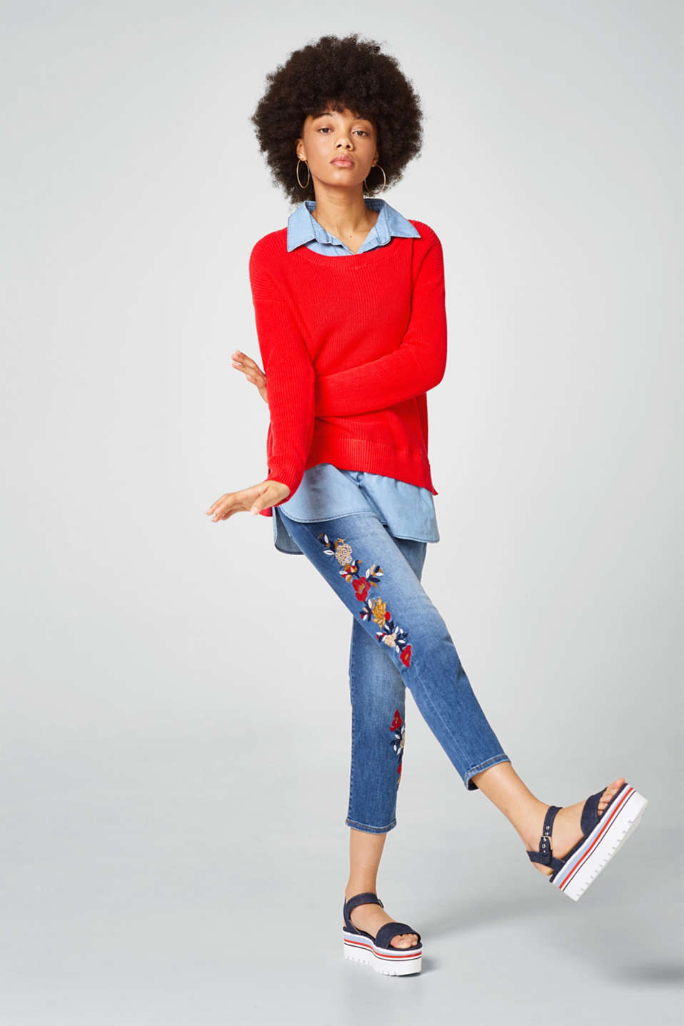 2-in-1 jumper with denim details