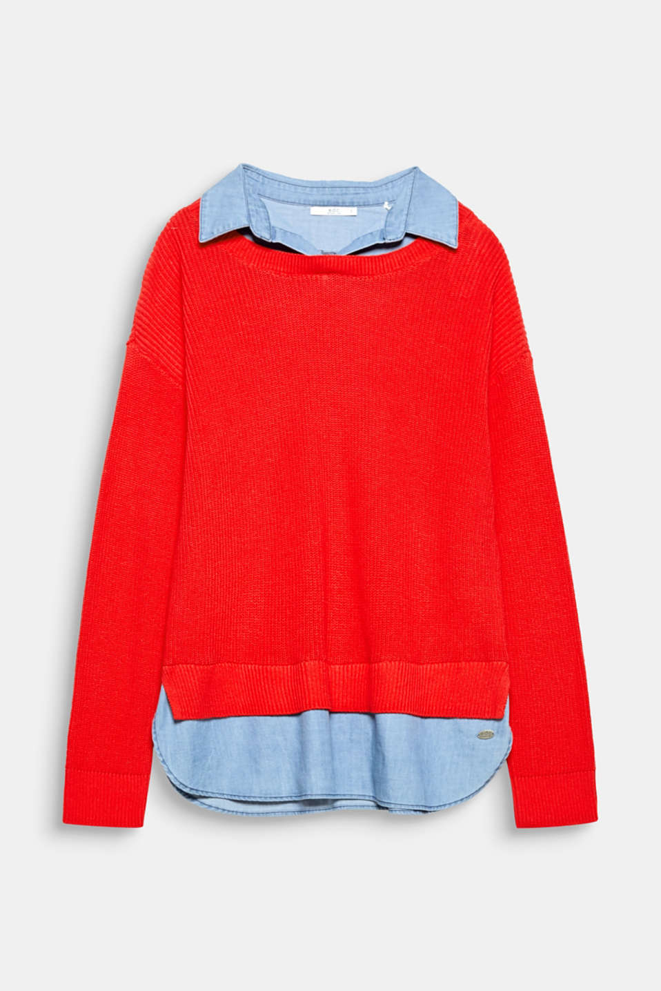 Simply pull it on and look seriously stylish: Rib knit jumper with blouse details in soft denim.