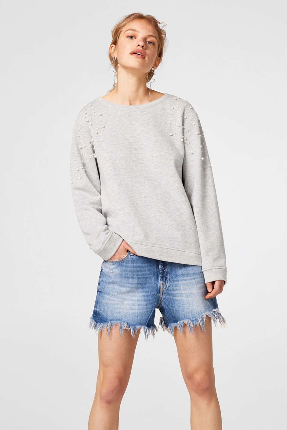 edc - Softer Sweater mit Perlen-Dekor