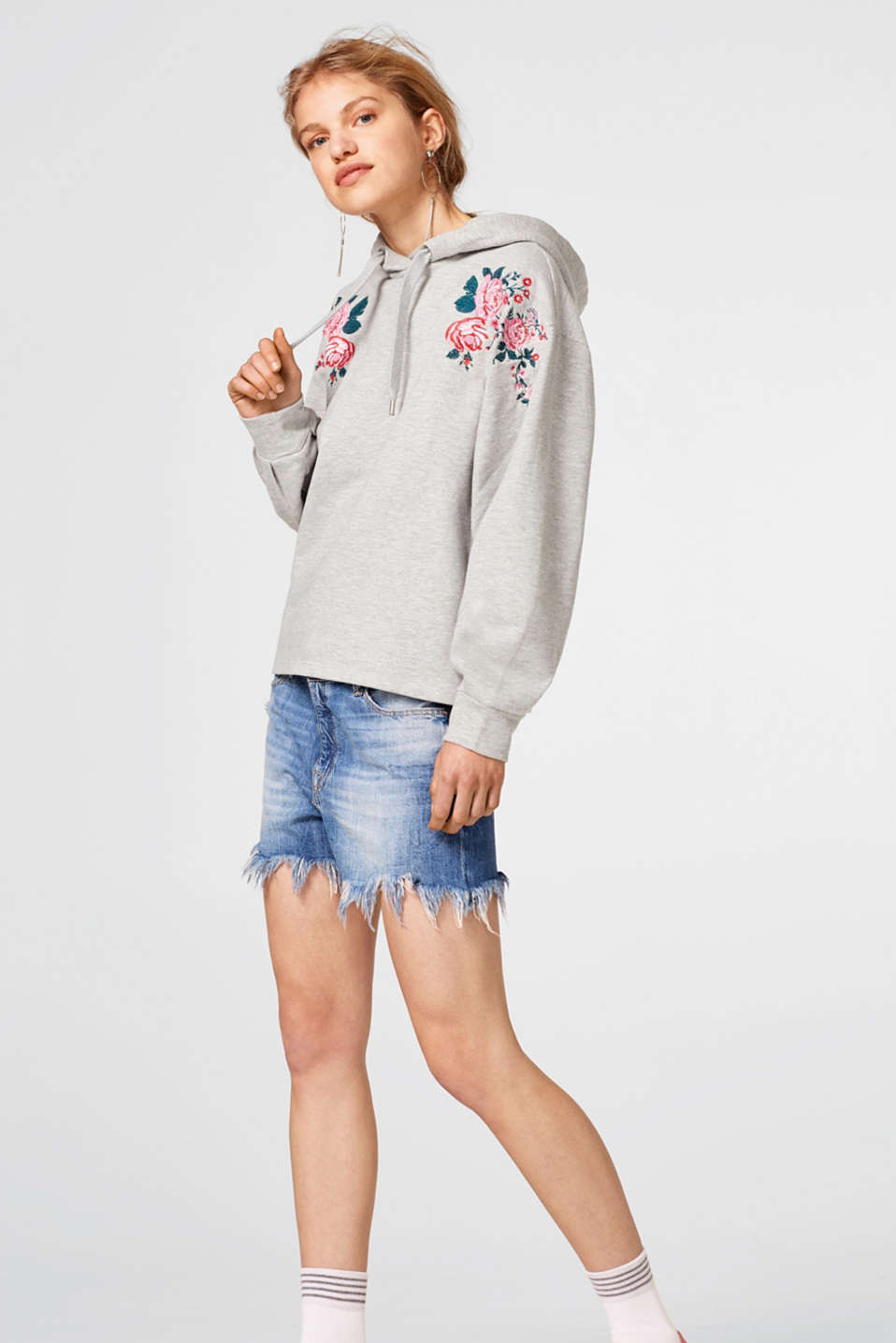 edc - Hoodie with floral embroidery