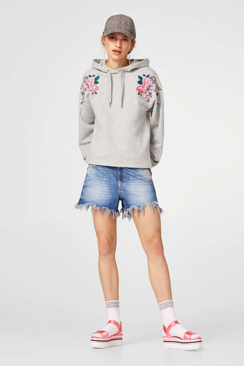 Hoodie with floral embroidery