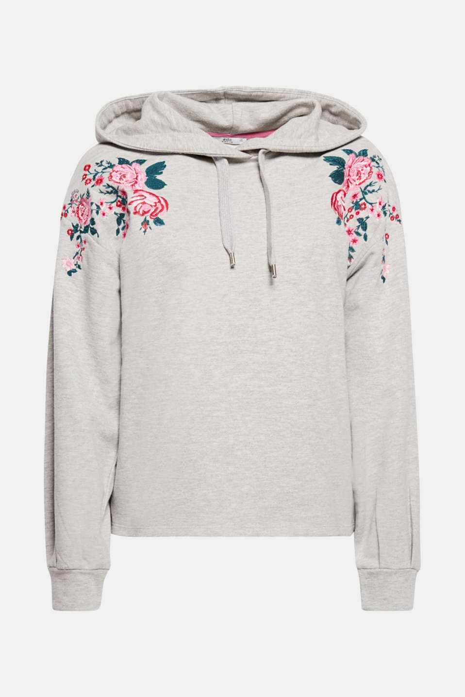 We love embroidery! The feminine floral embroidery gives this hoodie its trend appeal.