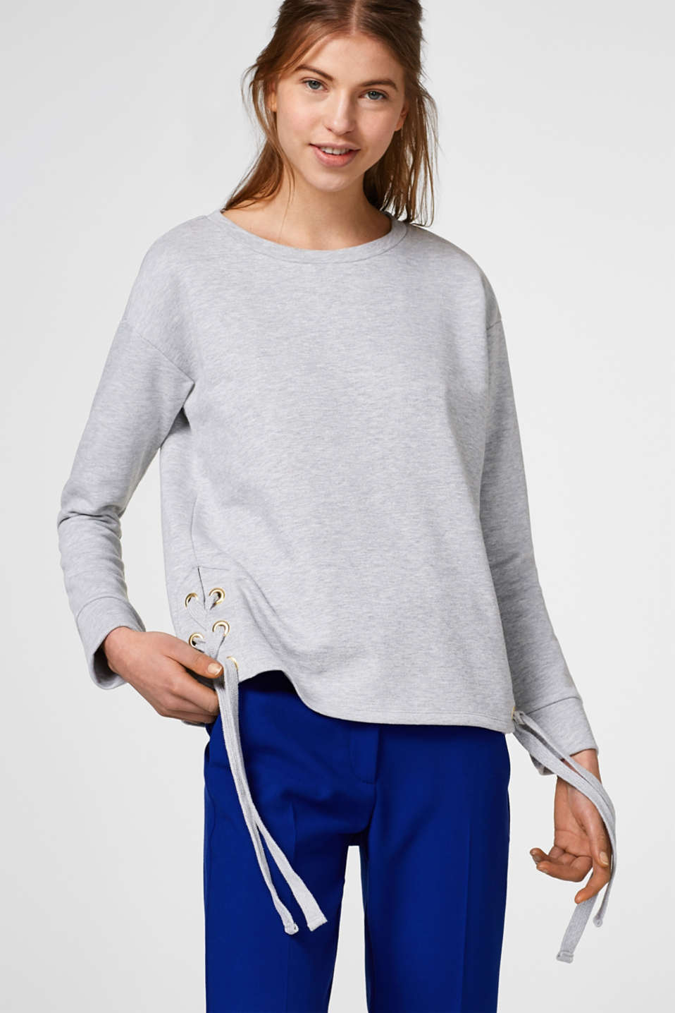 edc - Melange sweatshirt, lace-up details