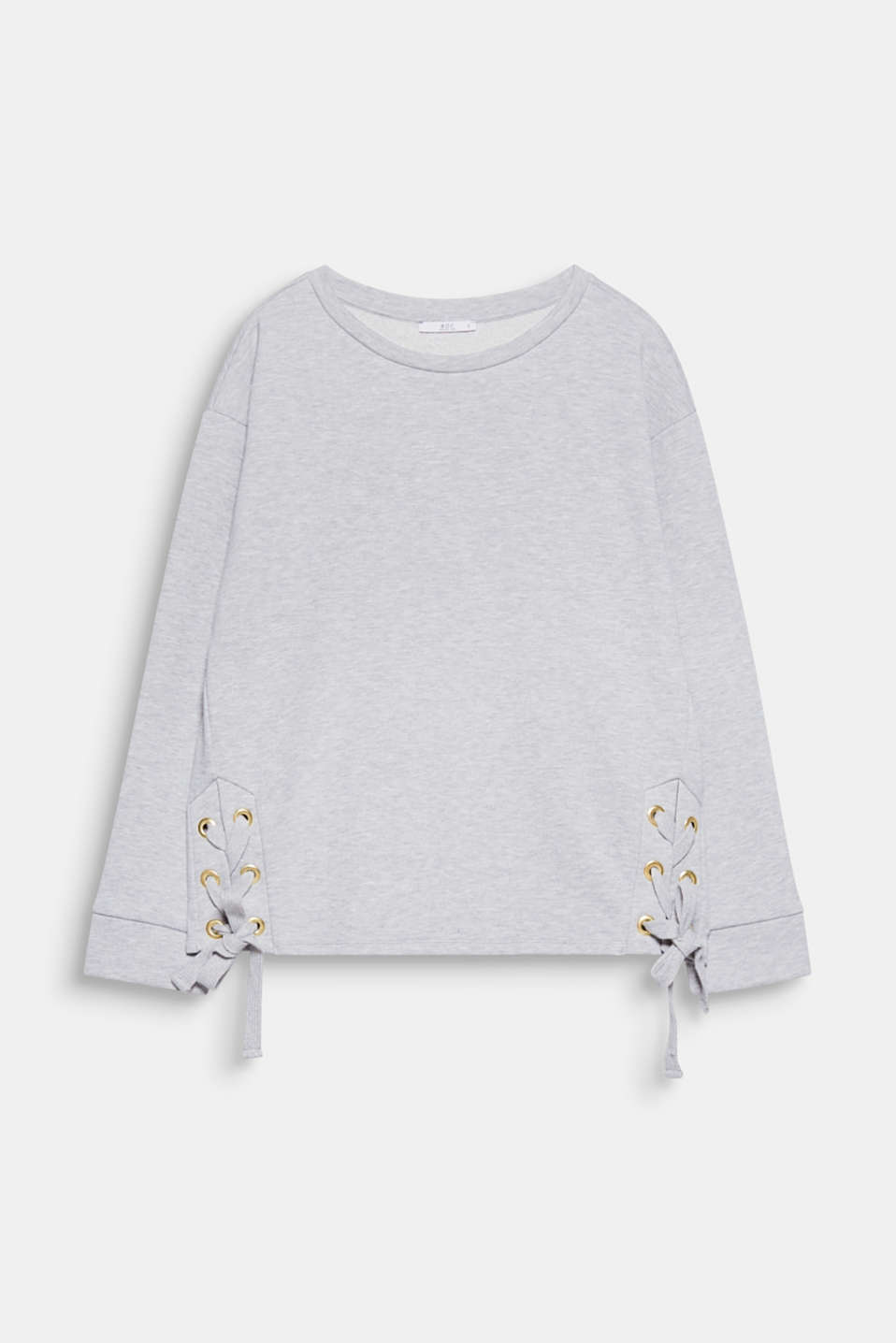 Beautiful lacing: large metal eyelets, wide woven tape add fabulous, eye-catching details to this melange sweatshirt!