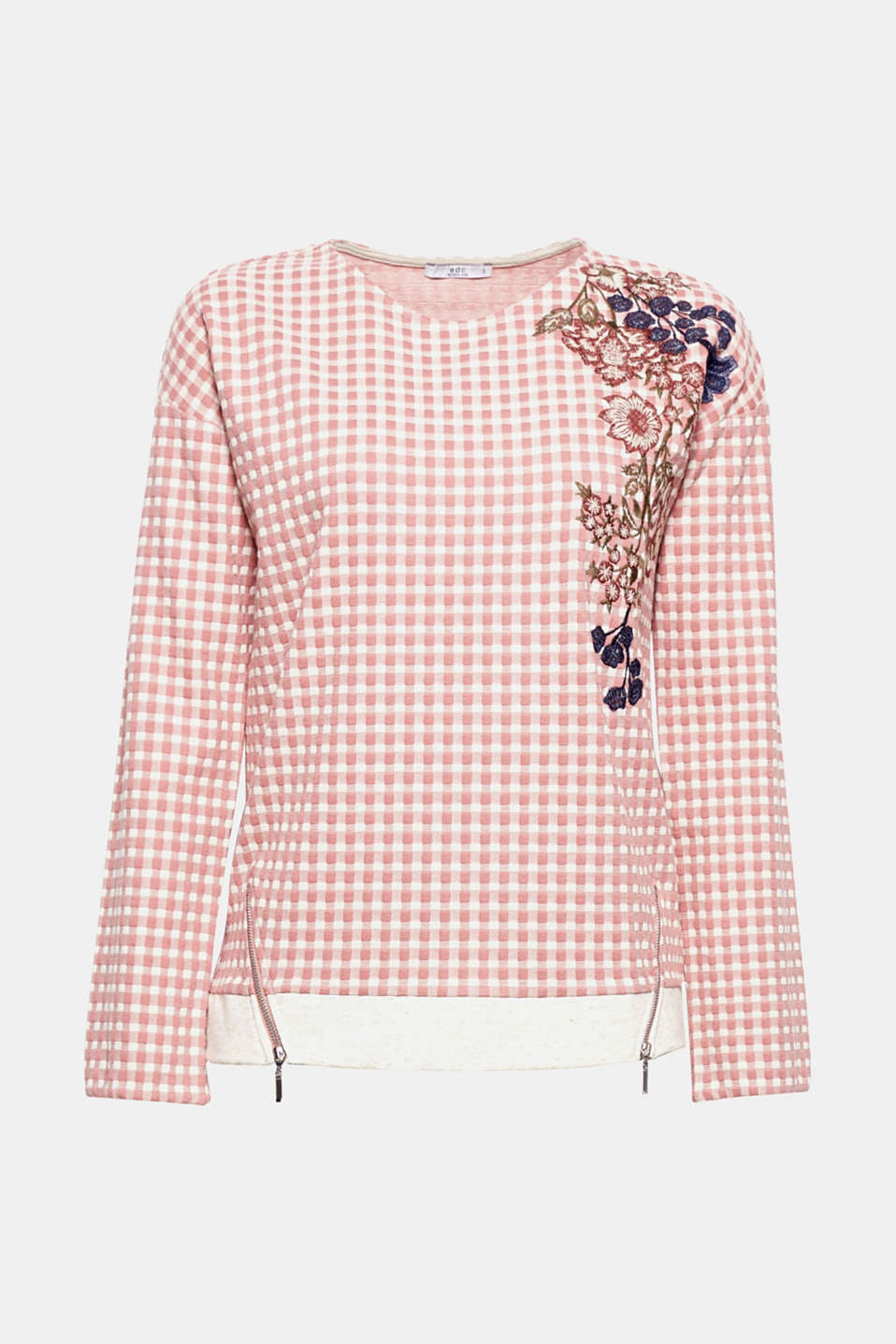 The elaborate floral embroidery gives this trendy, checked, lightweight sweatshirt with hem zips its new look!