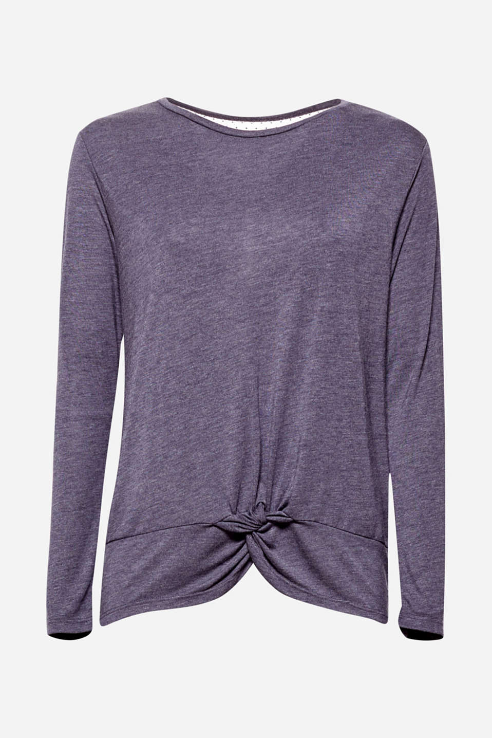 We love it easy: like this super soft long sleeve top in a straight, wide fit with casual knotting details at the hem!