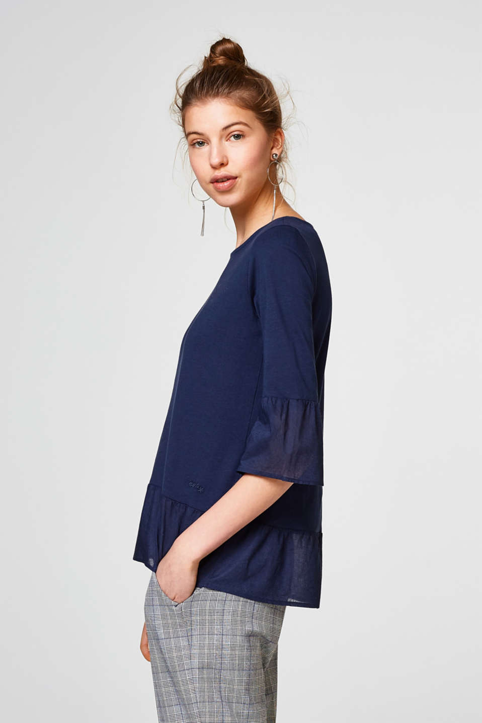 edc - Long sleeve top in a material mix