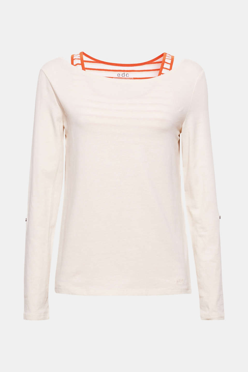 We love layering! An interwoven vest gives this long sleeve top a sporty layered look.