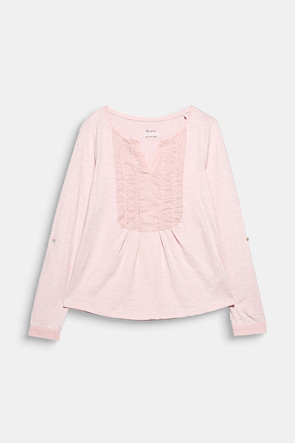 The mix of casual details and pretty frills gives this cotton slub top its fresh look!