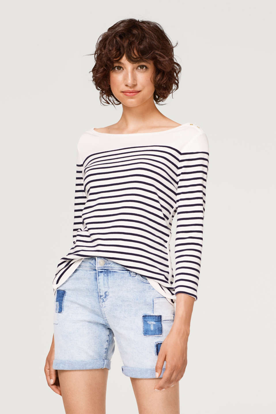 edc - Striped ribbed jersey long sleeve top