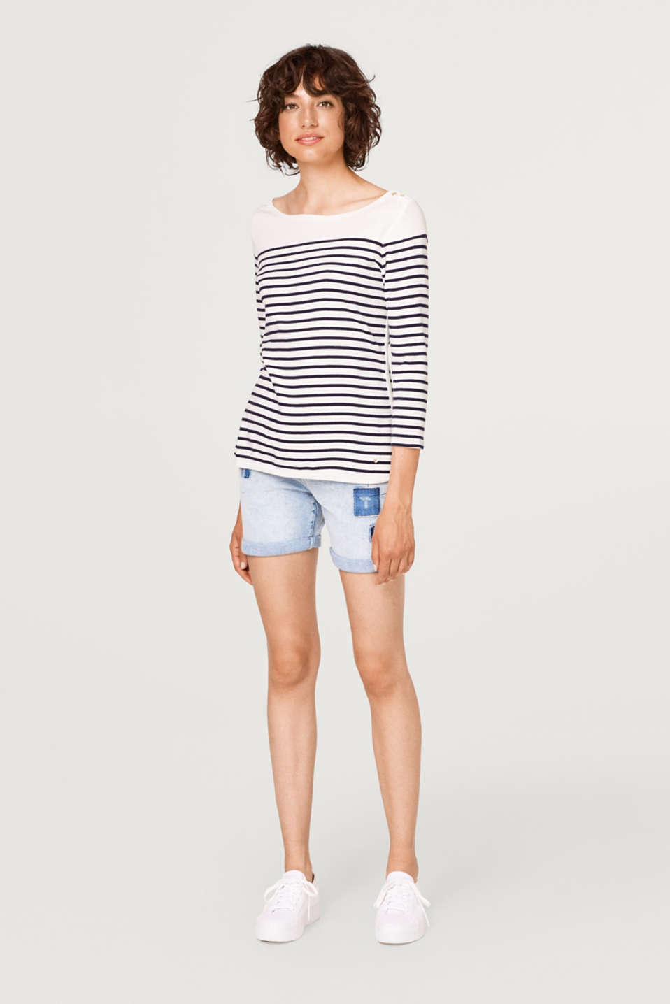Striped ribbed jersey long sleeve top