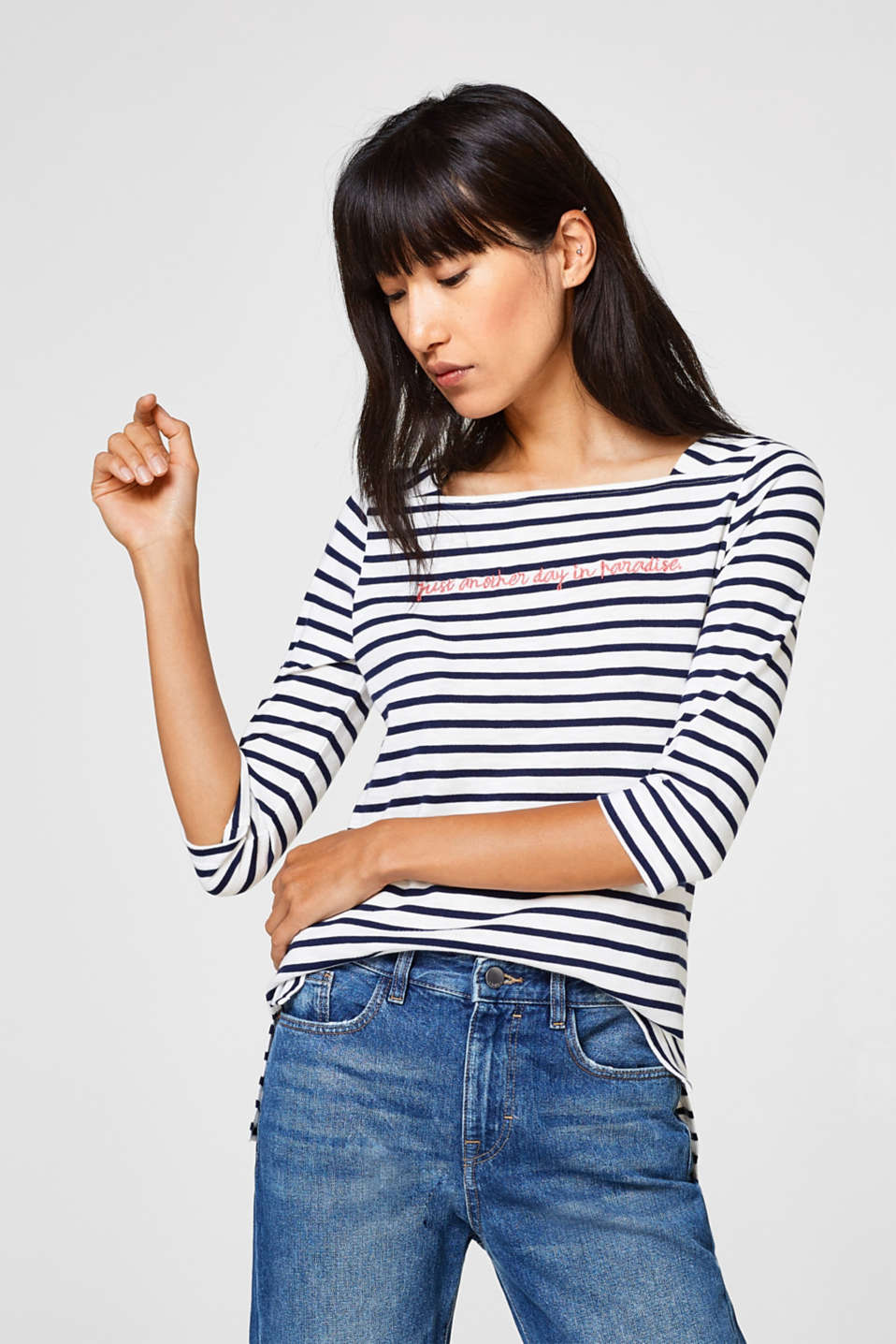 edc - Striped top with slogan embroidery