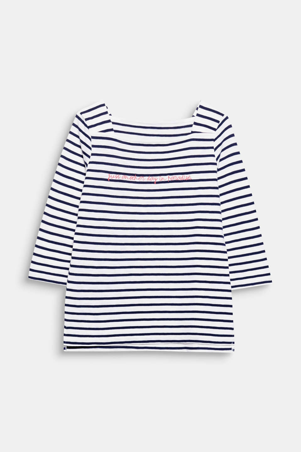 Just another day in paradise! This top stands out thanks to its fresh stripes, pure cotton and embroidered slogan.