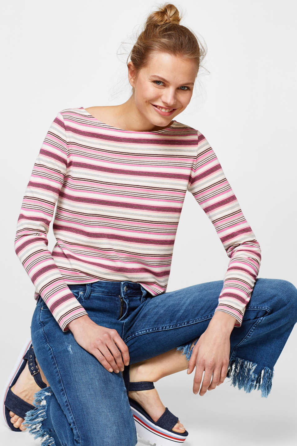 edc - Piqué long sleeve top with stripes