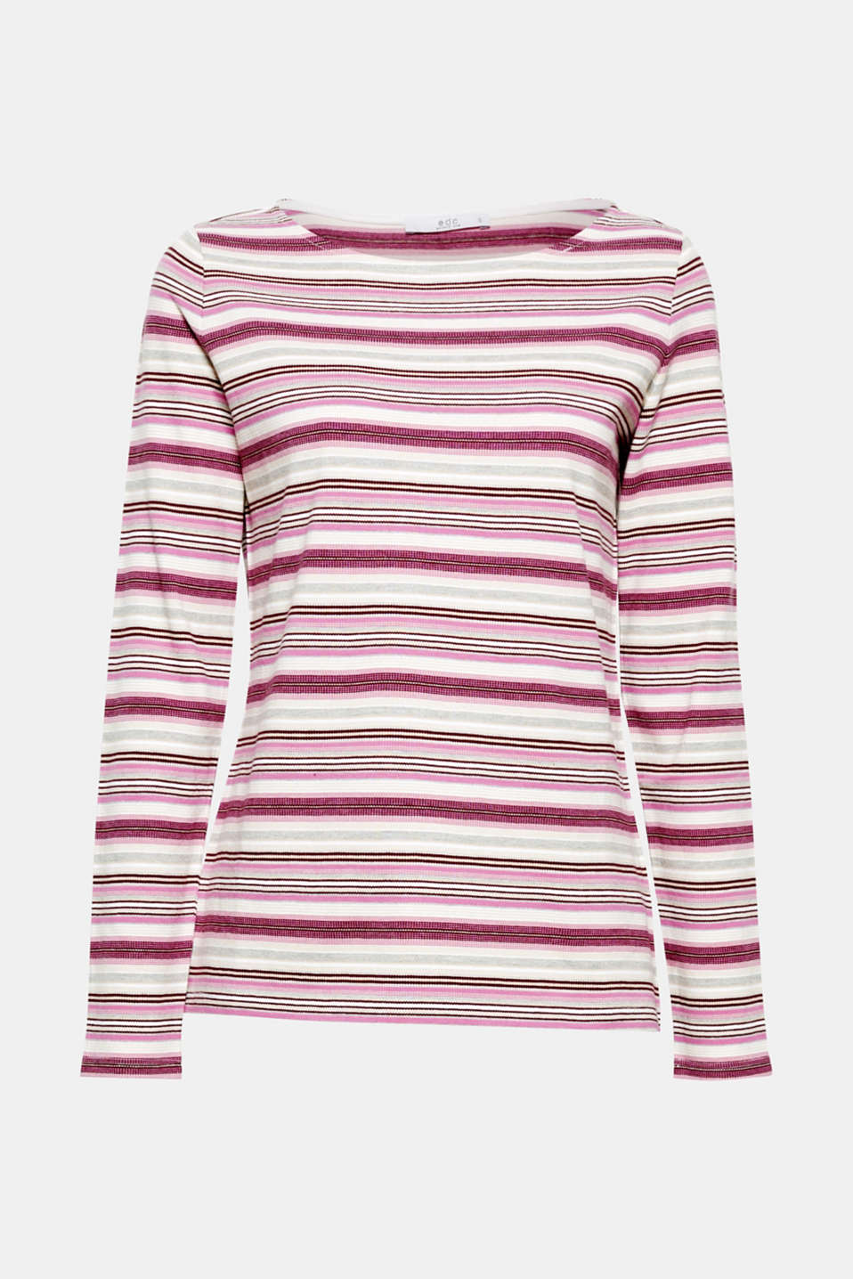 Colourful sleeves and a grainy piqué fabric: this long sleeve top in a casual head-turner.