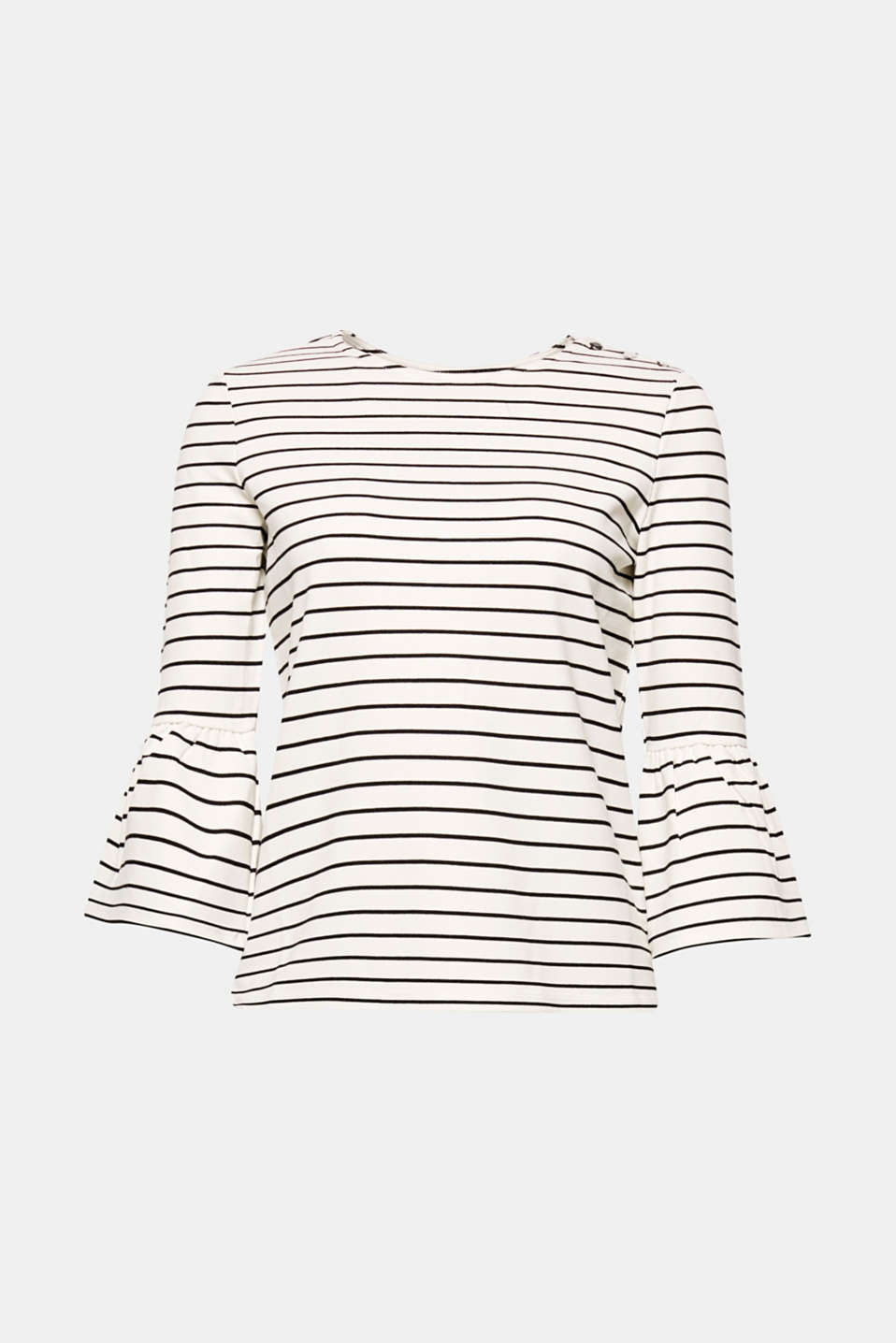 A fashionable classic with a feminine twist: classically striped T-shirt in thick stretchy jersey with flounce sleeves.