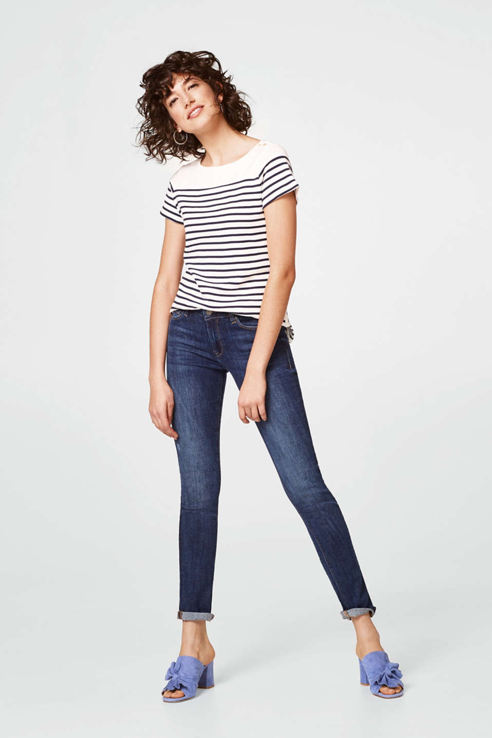 edc - Cotton T-shirt with stripes