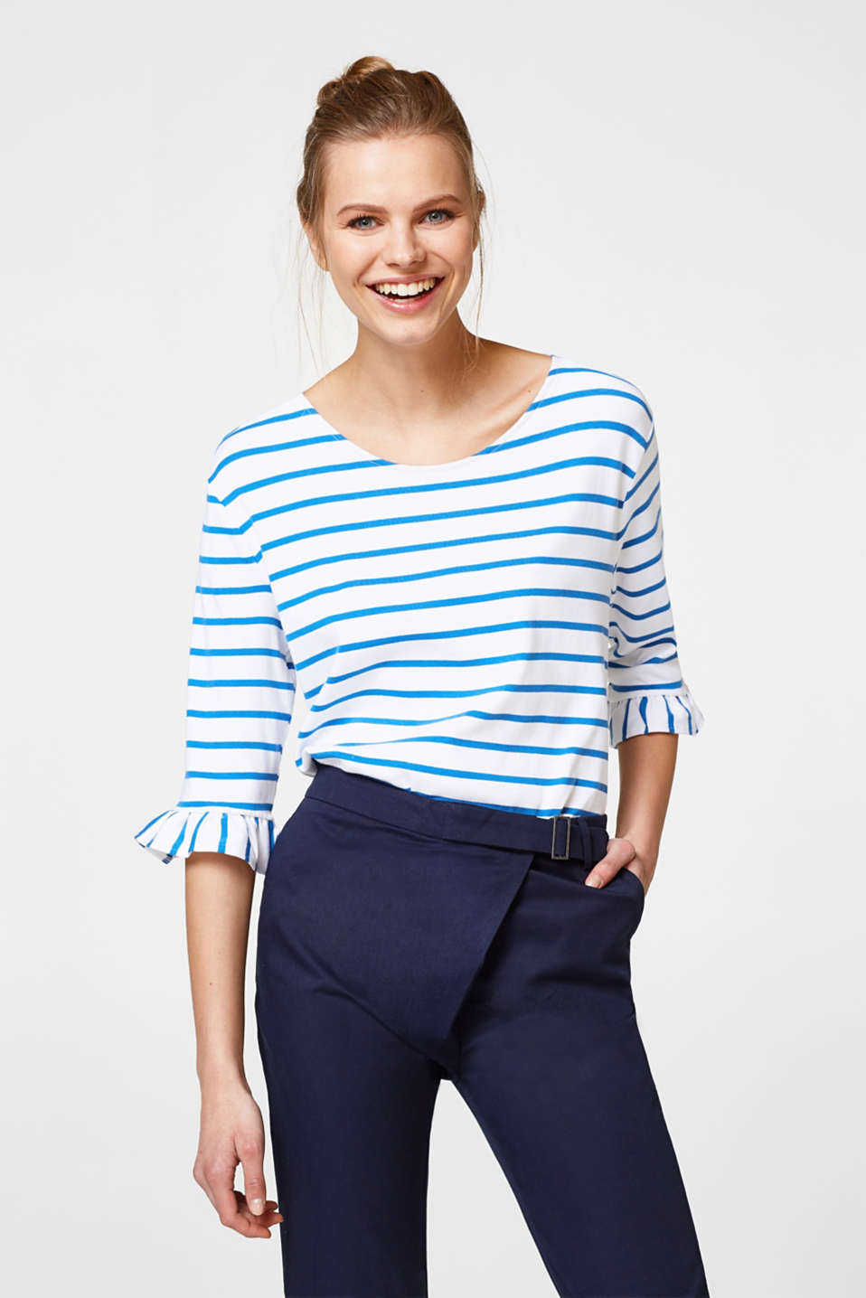 edc - Striped top with a frilled trim