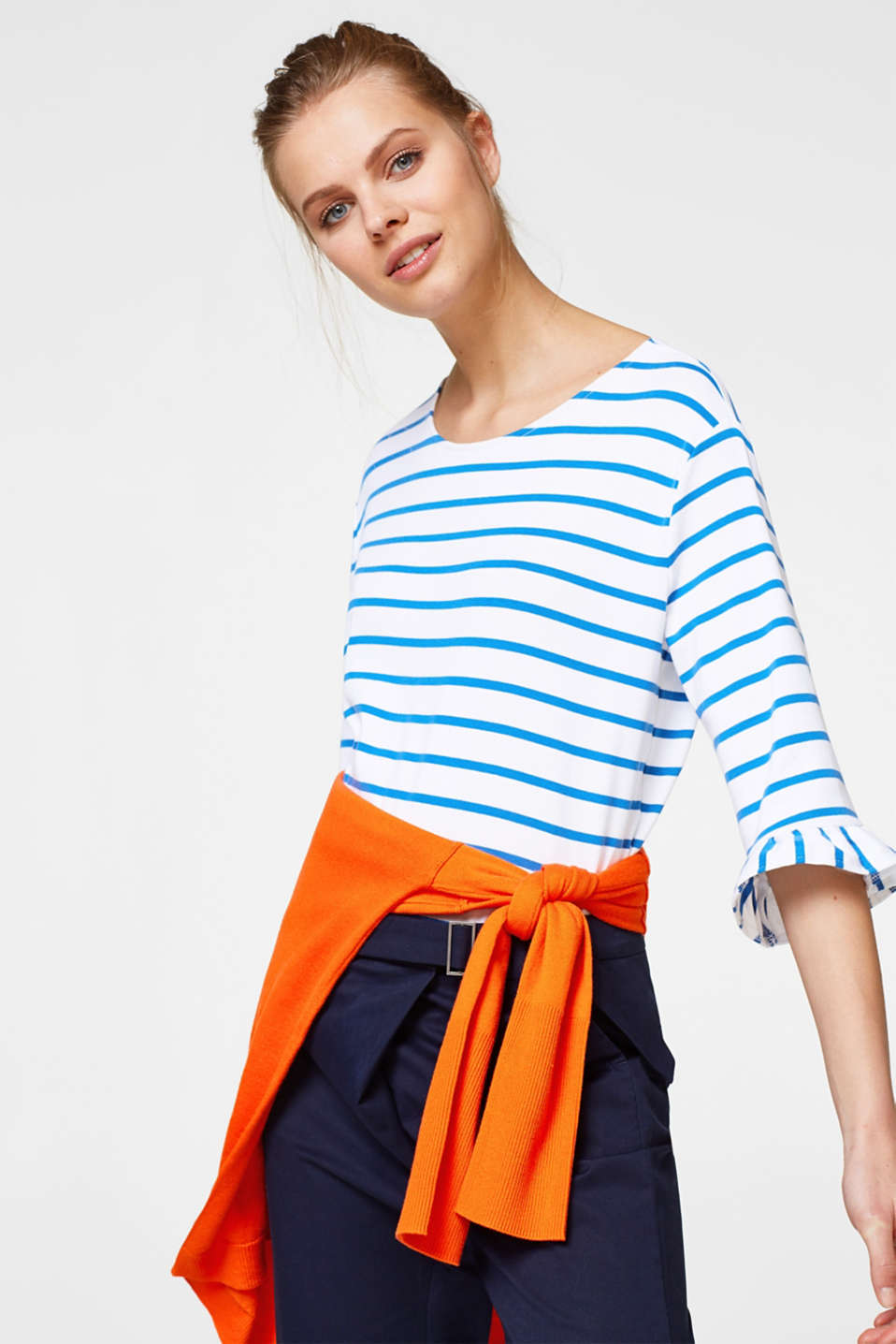 Striped top with a frilled trim