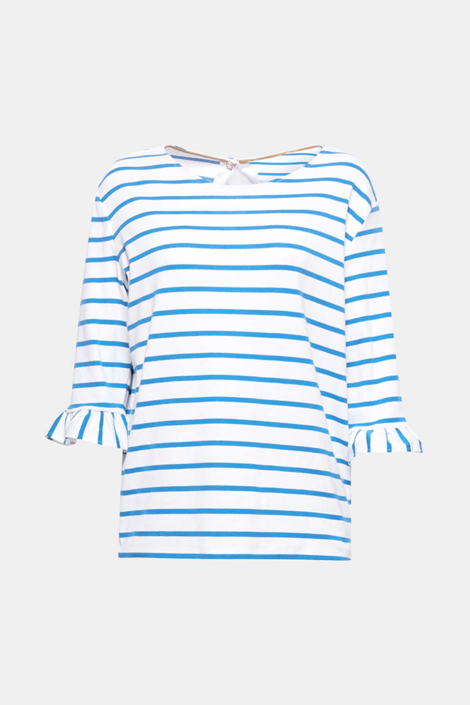 We love feminine styles! Stretch cotton T-shirt with a frilled trim and nautical stripes.