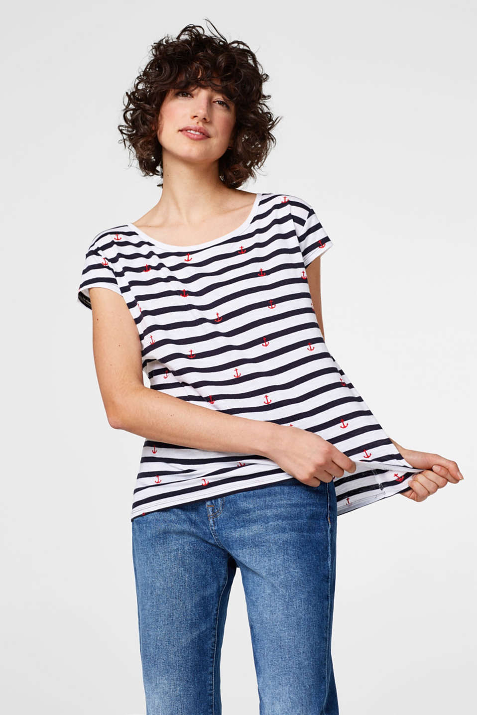 edc - Striped T-shirt with embroidery