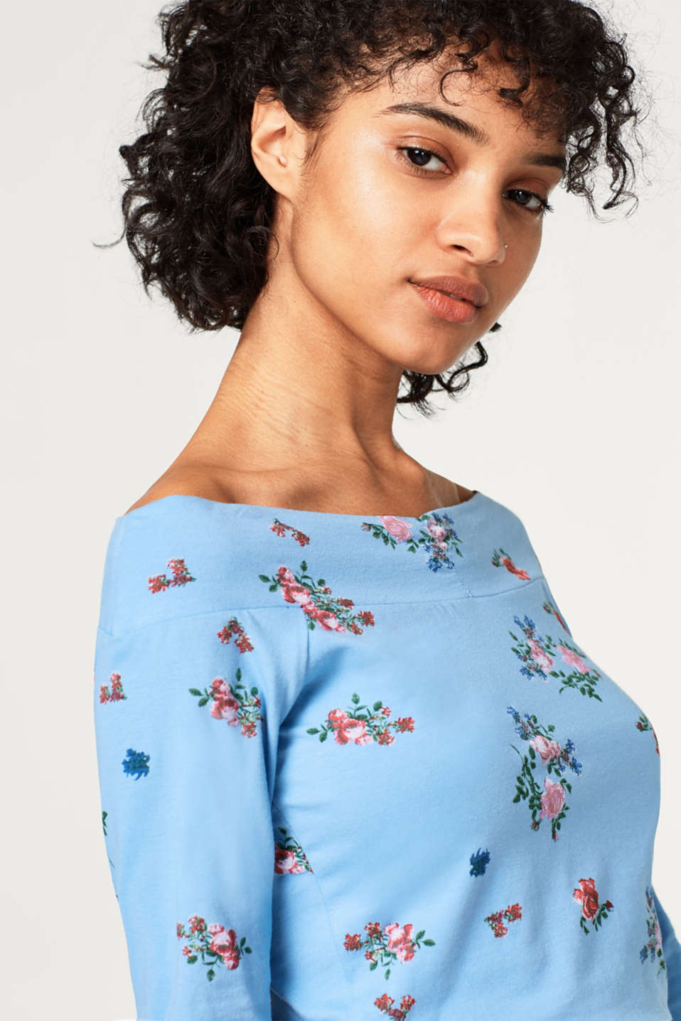 Off-Shoulder-Shirt mit Rosen-Print
