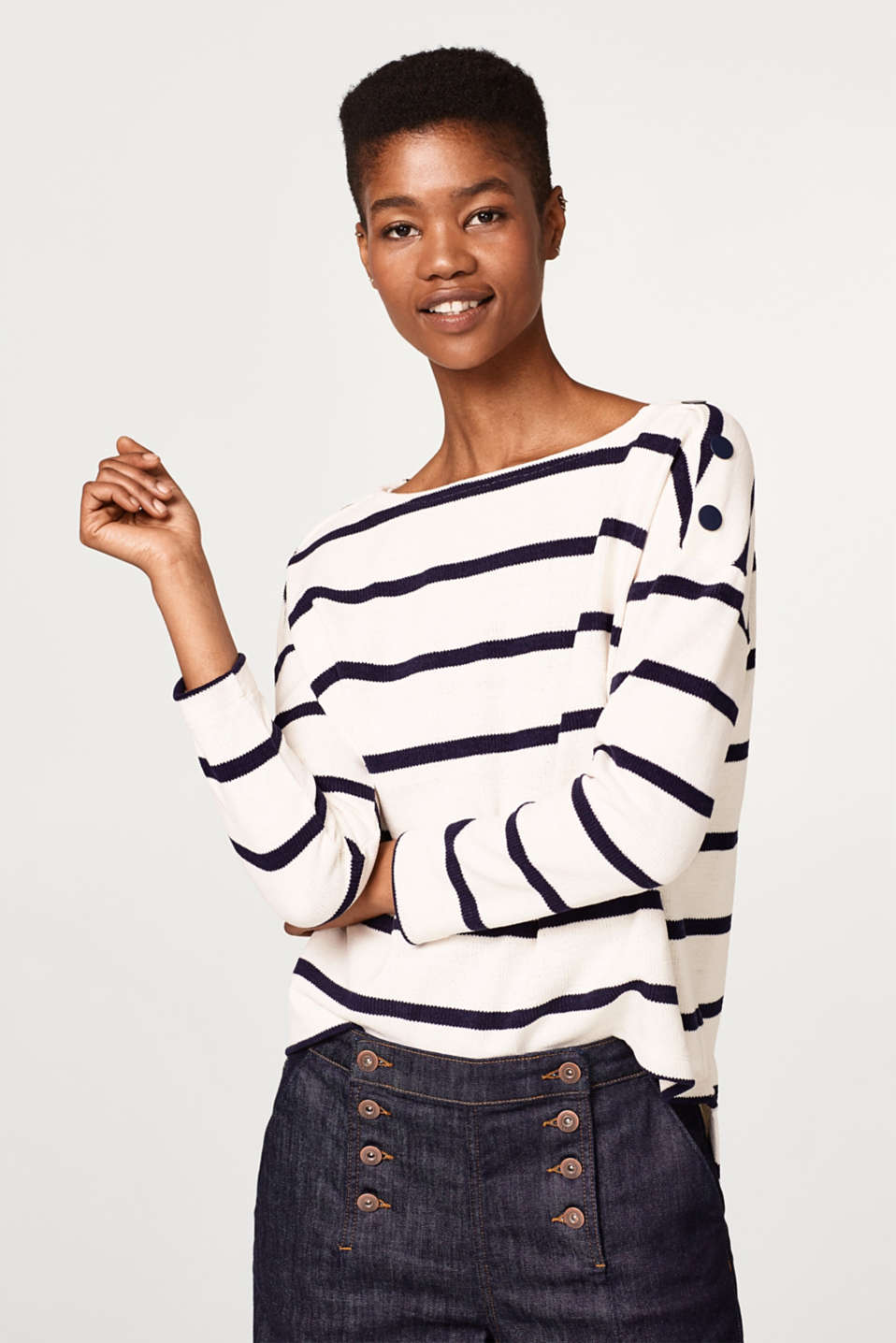 edc - Striped jumper with buttons
