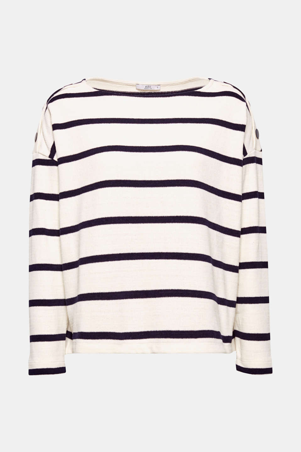 We love stripes! This striped jumper with a button detail features a fine knit look.