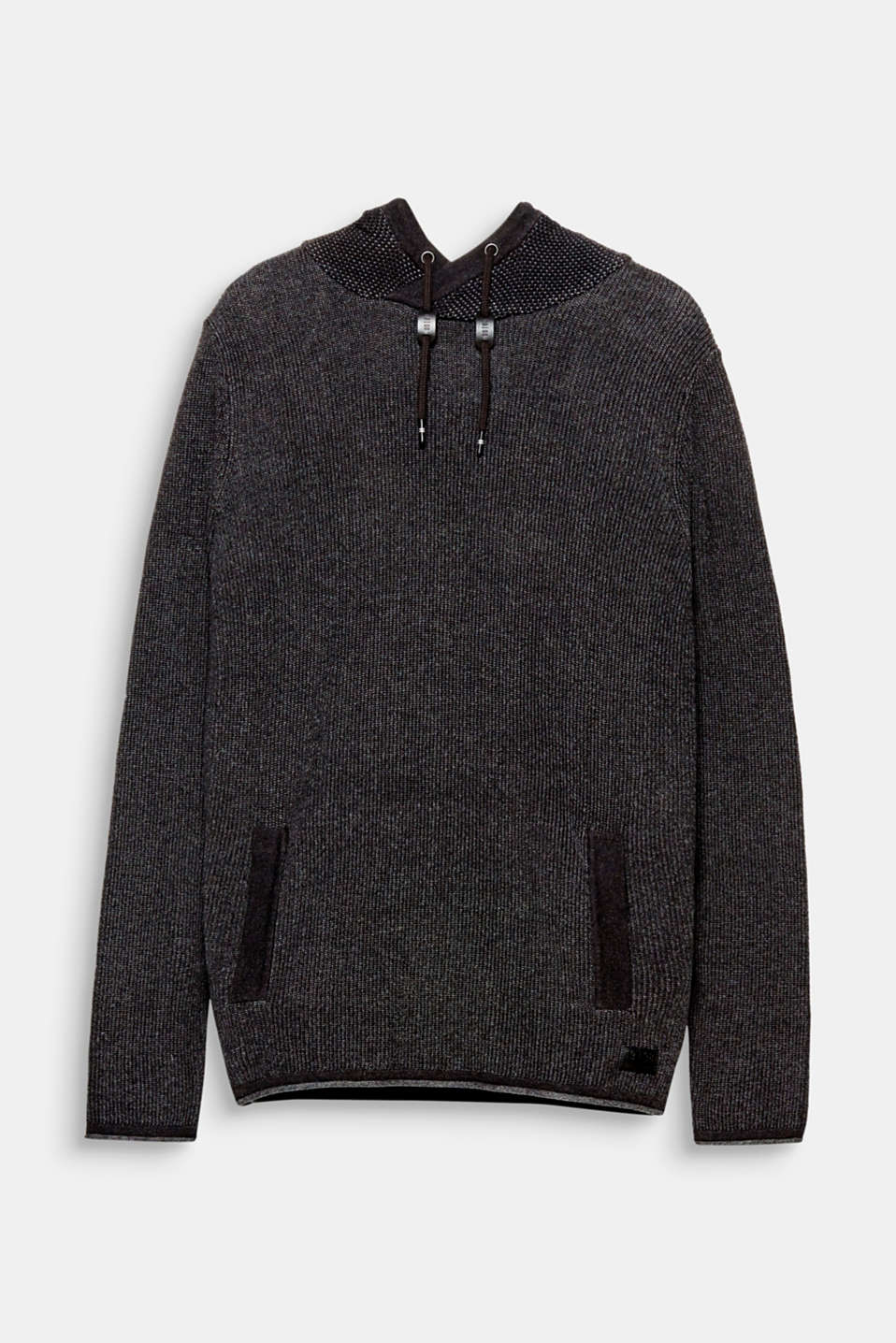 A high-quality casual essential: rib knit hoodie in 100% cotton.