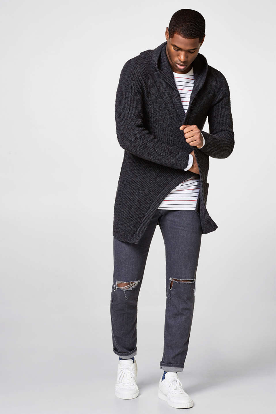 Long rib knit cardigan