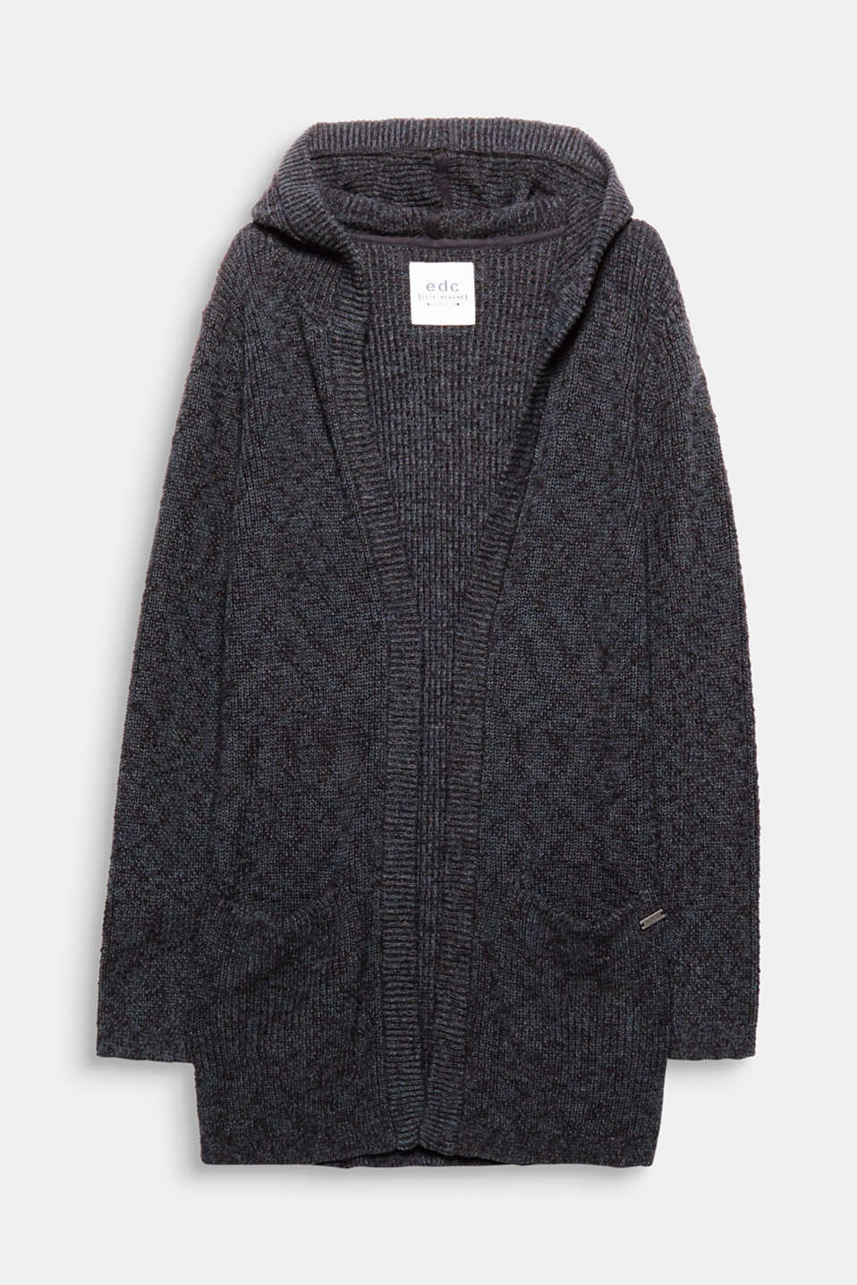 Casual fashion essential for your look: open cardigan with a hood, in rib knit yarn