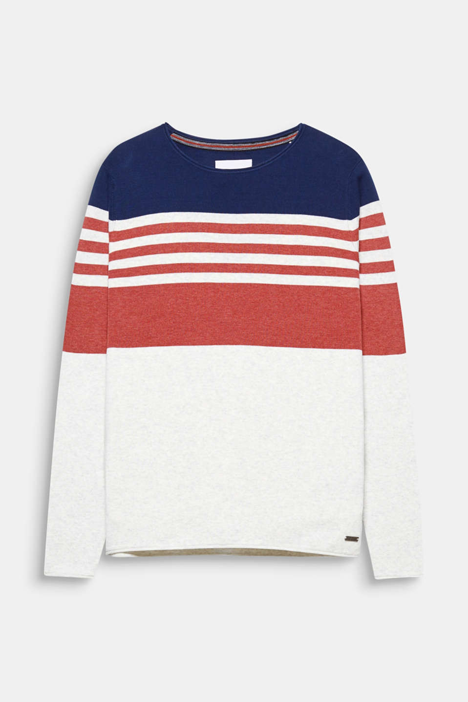 Block stripes in seasonal trend colours give this jumper a fashionable look.