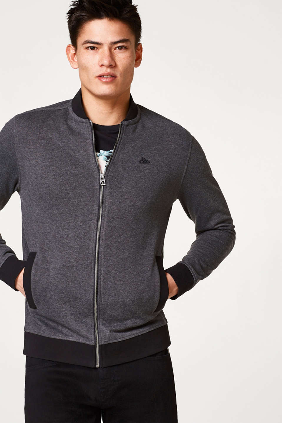 edc - Sporty sweatshirt cardigan with a stand-up collar
