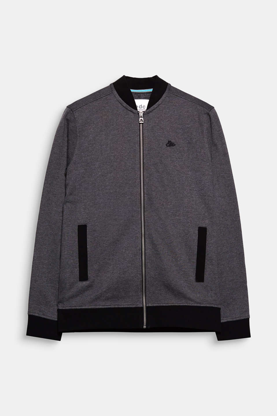 An urban classic! Cardigan with a stand-up collar, made of slightly melange sweatshirt fabric.