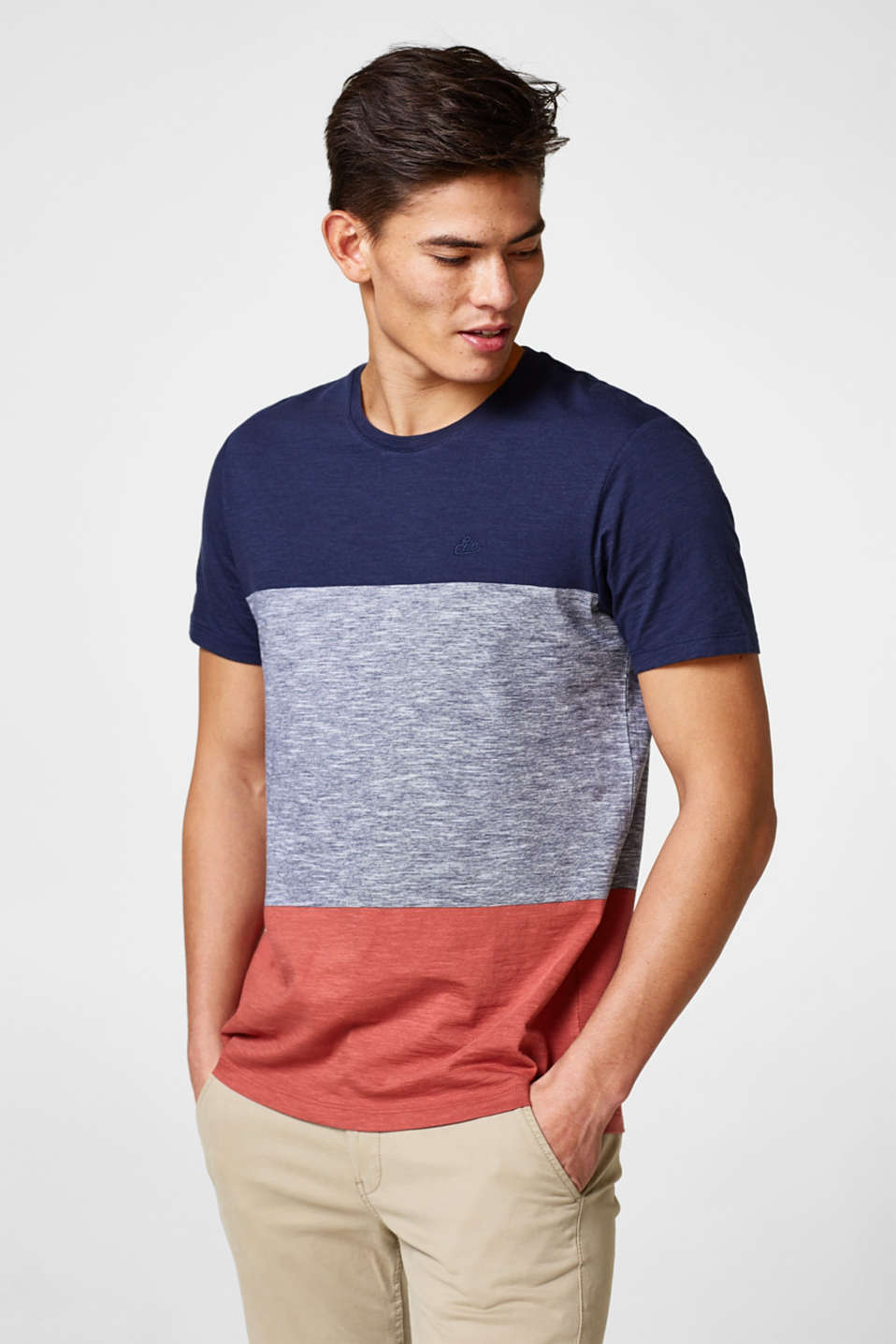 edc - Jersey T-shirt with block stripes
