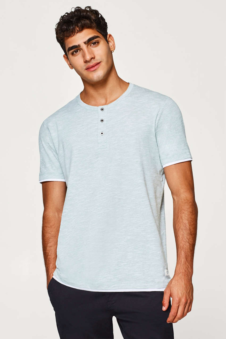 edc - Slub jersey Henley top, 100% cotton