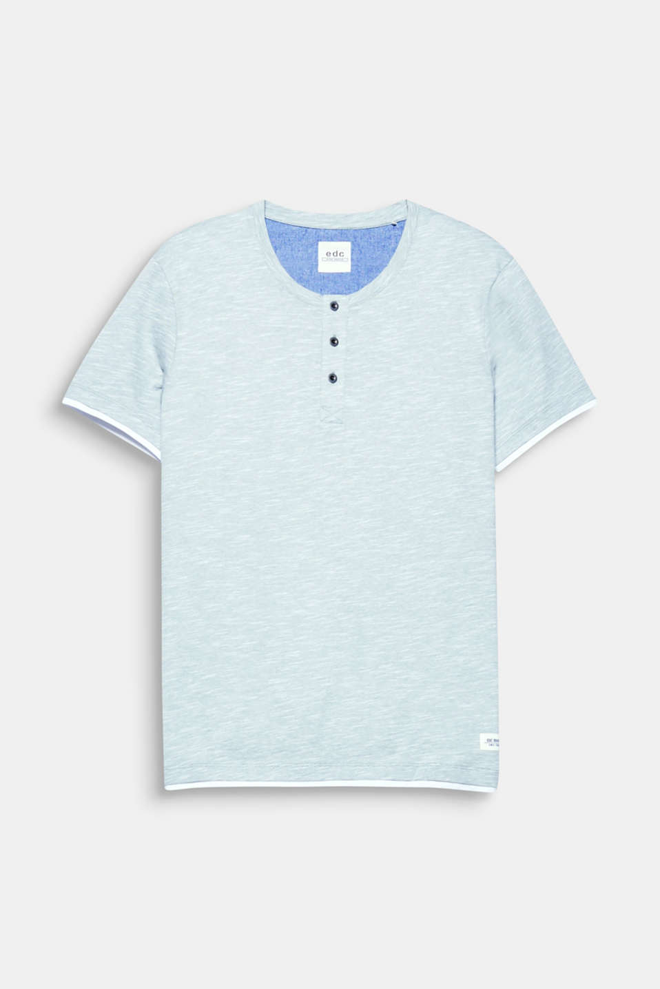 A fashion basic and must-have for every wardrobe: Slub jersey Henley top, 100% cotton.