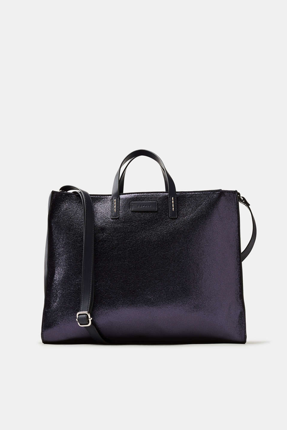 Esprit - Metallic-Tote Bag in gecrashter Leder-Optik