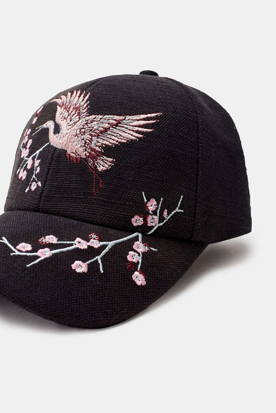 Baseball cap with bird embroidery