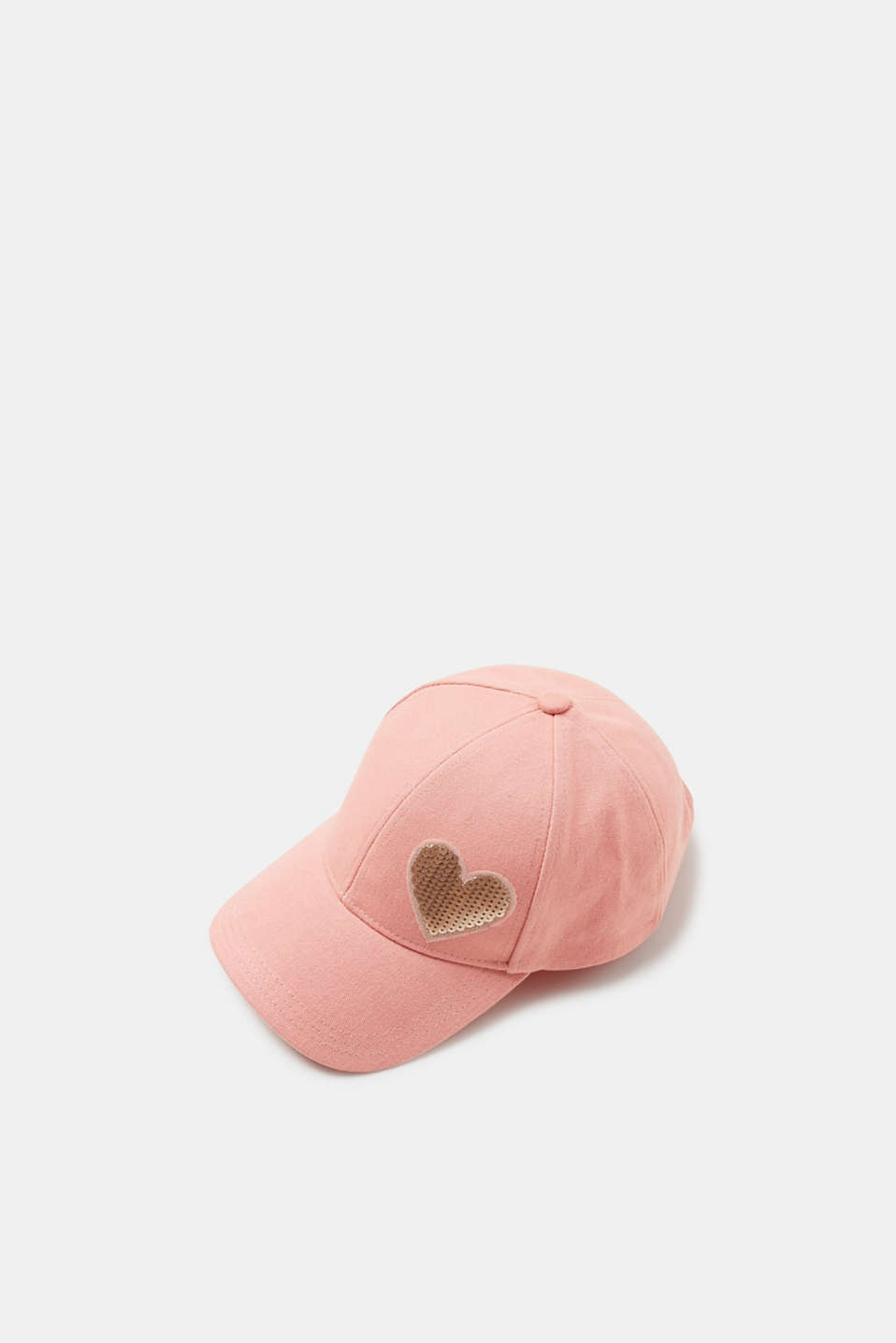 This cotton canvas baseball cap is a feminine trend style thanks to the sequin heart.
