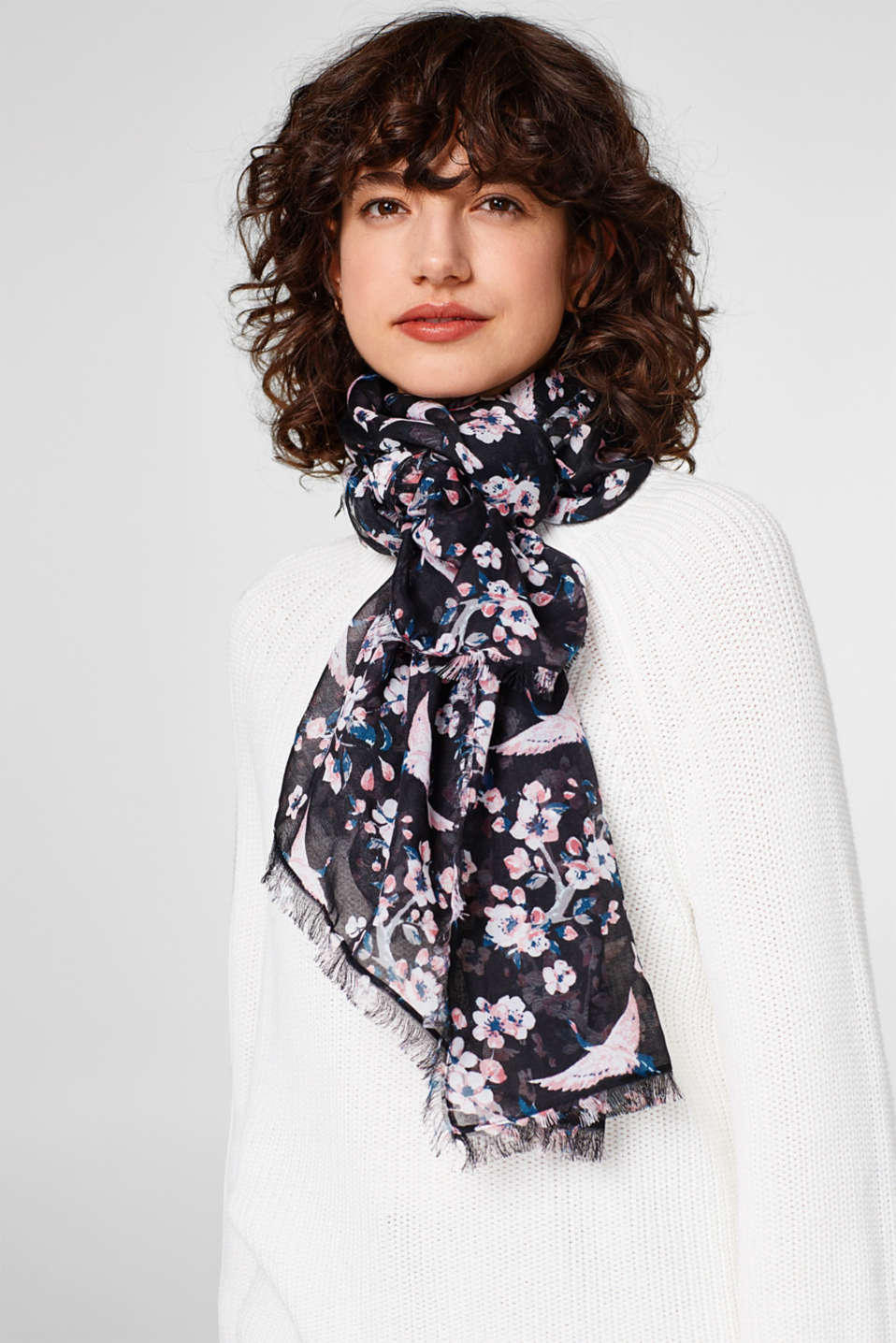 Sheer printed woven scarf