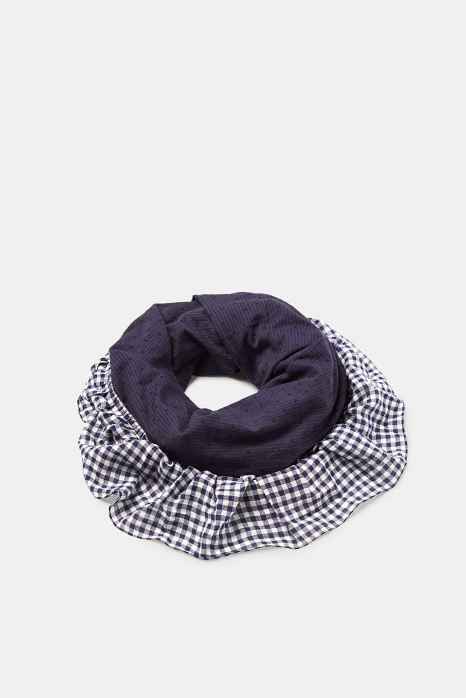 Esprit - Patchwork check scarf, 100% cotton