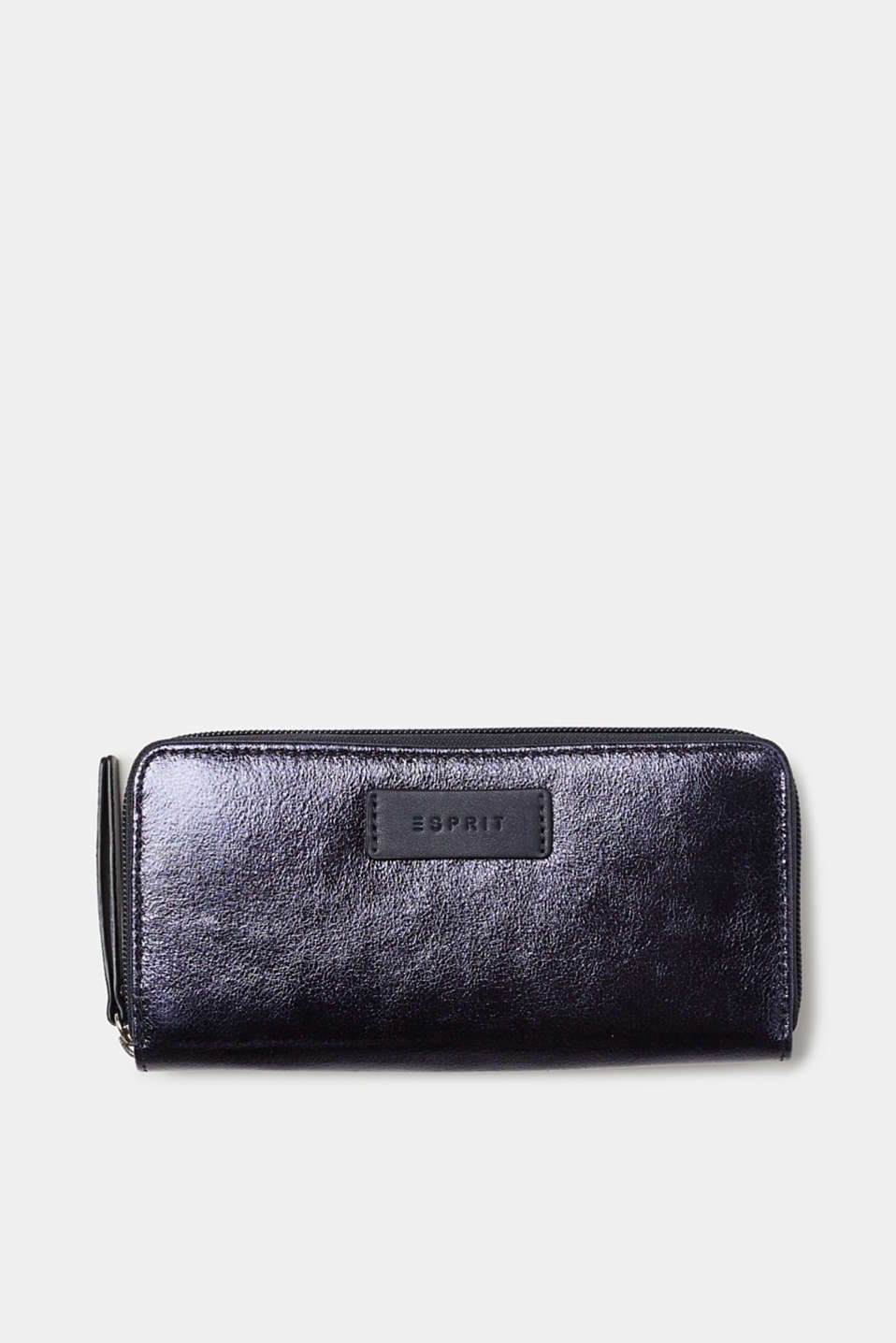 Esprit - Wallet with a zip, in a trendy metallic look